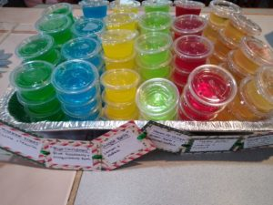 Full Tray of Jell-O Shots | Mistletoe Kisses, Blue Christmas, Jingle Bells, Mean Mr. Grinch, Holly Jolly, & Twinkling Lights