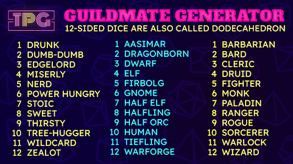 Dm Tools: Guildmates Generator By Total Party Guild