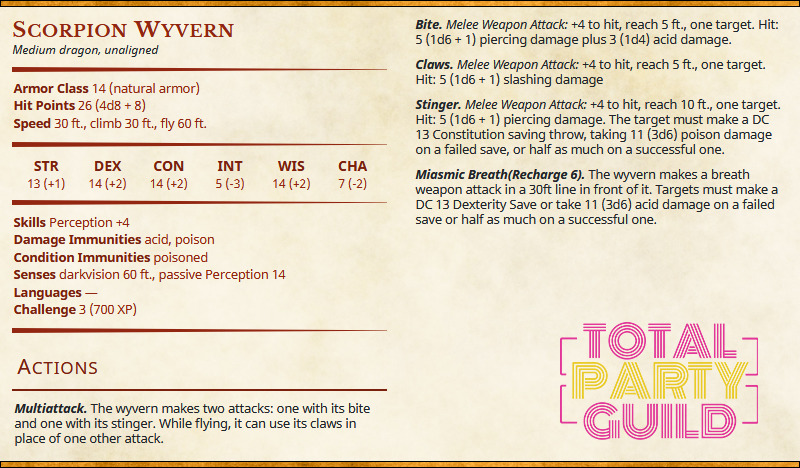 Scorpion Wyvern | Total Party Guild