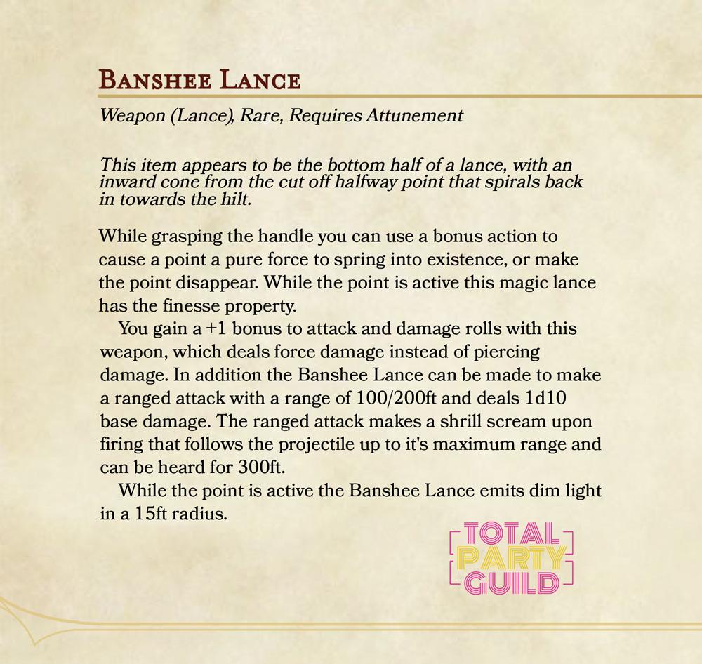 5e Weapon Stats   Banshee Lance   Total Party Guild